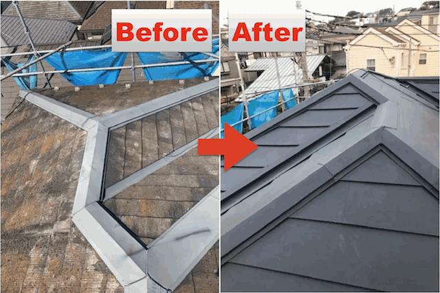 カバー工法=スレート屋根にガルバリウムなどを施工するのが一般的